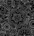 black floral flower pattern doodle vector image