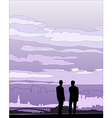 Businessmen negotiation silhouette vector image
