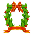 christmas holly and fir garland vector image