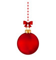christmas red ball with bow on a tape vector image