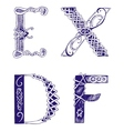 Hand-drawn letters D E F X vector image