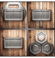 metal and wood background set vector image