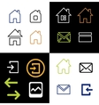 Outline web icons set - house letter vector image