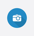 photo camera Flat Blue Simple Icon with long vector image