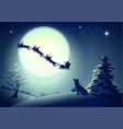 santa in night sky against background of full moon vector image