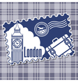 Stamp with the sightseeing on the Big Ben vector image