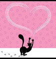 Valentine day cat scratching heart wall with anima vector image