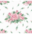 Watercolor pink roses group seamless patternBuds vector image
