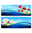 Nature banners with color flowers vector image vector image