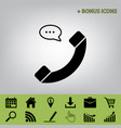 phone with speech bubble sign  black icon vector image