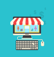 concept of online shop flat icons of computer vector image vector image