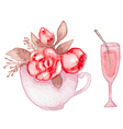 Cup with roses and wineglass vector image vector image
