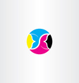 cmyk printing icon butterfly logo symbol vector image