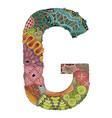 letter g zentangle decorative object vector image