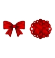 Set of red bows on a white background vector image