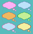 Six Colorful Thought Bubbles on Green Pattern vector image