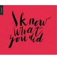 I Know What You Did - brush writing vector image