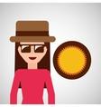 toursit female hat sunglasses sunny vector image