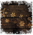 Golden Snowflakes on Wooden Background Merry vector image vector image