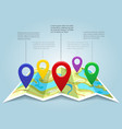 map with pin markers vector image vector image