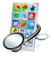 smart phone or tablet pc health check concept vector image