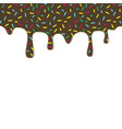 dripping chocolate donut glaze background vector image