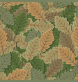 seamless oak tree leaves background vector image vector image