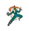 Knight Wield Fiery Sword Cartoon vector image