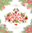 Merry christmas lettering with floral pattern vector image vector image