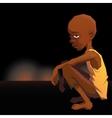 Sad African refugee child boy in a poor dress on vector image