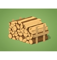 Low poly firewood stacked in piles vector image