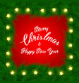 christmas background with fir branch border and vector image