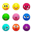 funny furry faces of monsters puffy balls of vector image