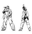 raper and graffiti guy on white background vector image