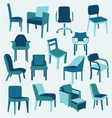 Set icons of chairs interior furniture collection vector image
