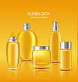 set sunscreen protection cosmetics sun care vector image