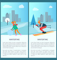 wintertime woman and snowball vector image