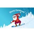 Santa snowboarding with Reindeer vector image