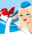 23 february girl card airplane russian army day vector image