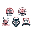 Darts game icons or symbols set vector image