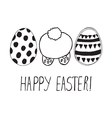 easter greeting with eggs and bunny back vector image