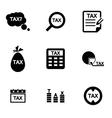 black tax icon set vector image