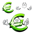 Cartoon isolated green euro sign vector image