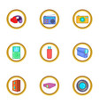 home gadgets icons set cartoon style vector image