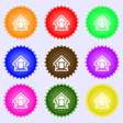 House icon sign A set of nine different colored vector image