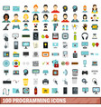 100 programming icons set flat style vector image