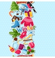 Seamless pattern with winter stickers Merry vector image