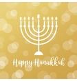 Menorah Candles on Golden Bokeh Background Happy vector image