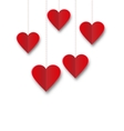 Background of hearts hanging on strings - vector image vector image