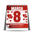 8 march holiday date in the calendar vector image